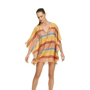 ViX Gaudalupe Striped Caftan Swimsuit Cover Up